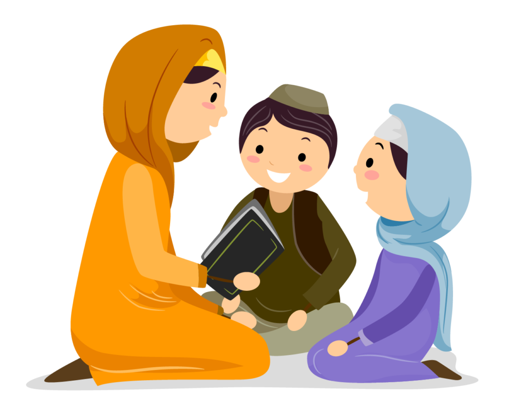 mother teaching kids about Islam